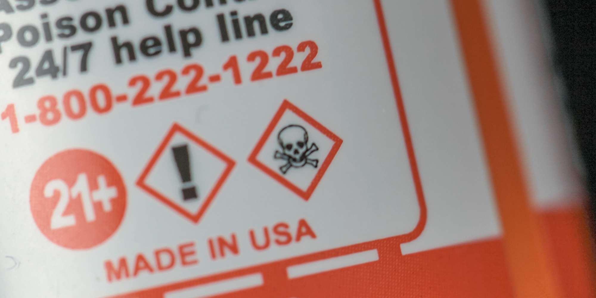 Предупреждение об опасности никотина на жидкости для вейпинга