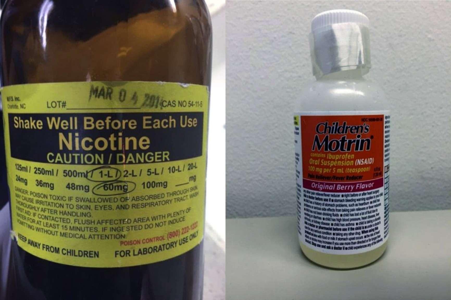 Слева — «основа», справа — пузырек от ибупрофена, куда её перелили. Фото — Annals of Emergency Medicine